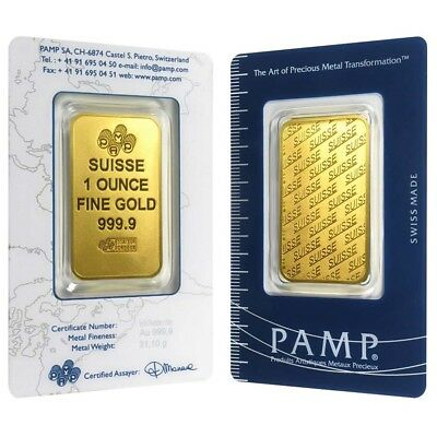 1 oz Gold Bar - PAMP Suisse - New Design (In Assay)