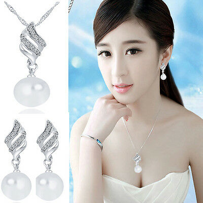 Women Fashion Jewelry Set Crystal Pearl Silver Plated Pendant Necklace Earrings