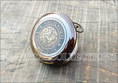 Brass Compass Antique Vintage Pocket Push Button Royal Navy London Compass