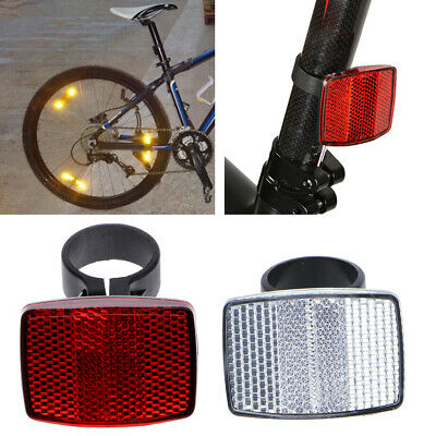 Bike Reflective Front Rear Warning Light Safety Lens Bicycle Handlebar Reflector