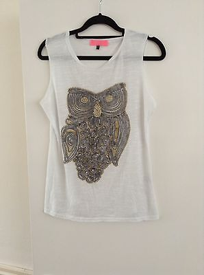 Women's White Owl Printed Gold Glitter Top Size 10
