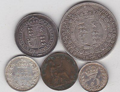 Five Victorian 1887 Coins In Good Fine Or Better Condition