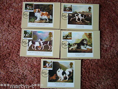 PHQ Stamp card set FDI Front No 132 Dogs 1991. 5 card set.  Mint Condition.