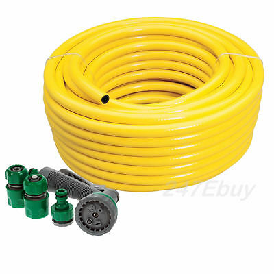 New Professional Garden Hosepipe 100m Heavy Duty Yellow Hose Pipe Spray Gun Set