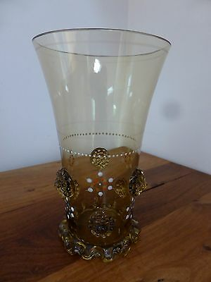 Victorian style amber glass vase or tumbler with applied glass design, 13.5cm