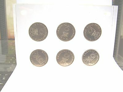 GREEK 2004 ATHENS OLYMPICS  GREECE SET OF 6 x 500 DRACHMA COINS FROM 2000