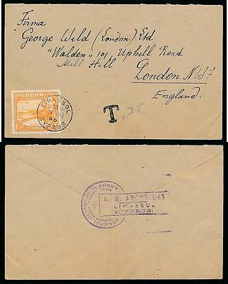 CYPRUS to GB POSTAGE DUE T LIMASSOL + COMMISSION AGENT HANDSTAMP 1946