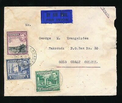 CYPRUS to GOLD COAST AIRMAIL WW2 STAINS SEA WATER ? 1942 LARNACA