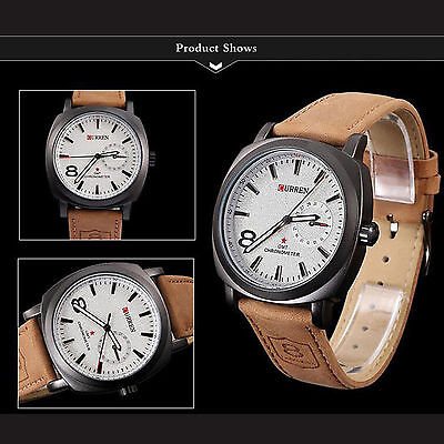 Men's Fashion Waterproof Leather Stainless Steel Sport Analog Quartz Wrist Watch