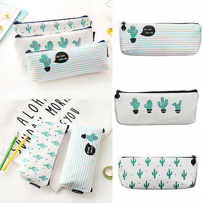 School Supply Stationery Storage Cosmetic Bag Pencil Case Green Cactus Canvas