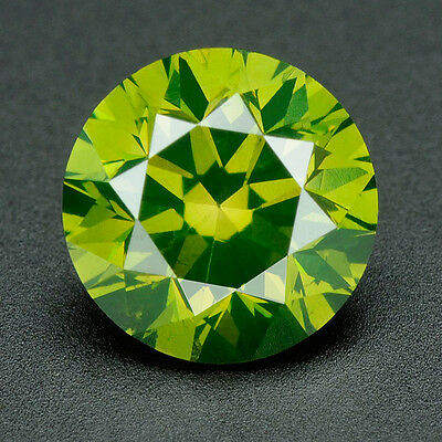 CERTIFIED .093 cts Round Cut Vivid Green Color VVS Loose Real/Natural Diamond 3G