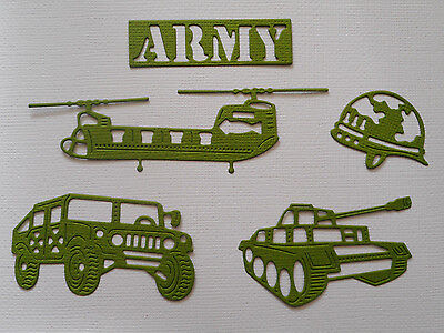 Army Truck Tank Helicopter Paper Die Cuts x 3 Sets Scrapbooking - NOT a DIE