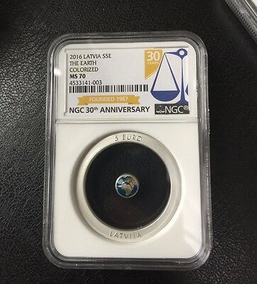"""NGC MS70 2016 Latvia 5 Euro Perlucor & Silver Proof Coin """"The Earth"""""""