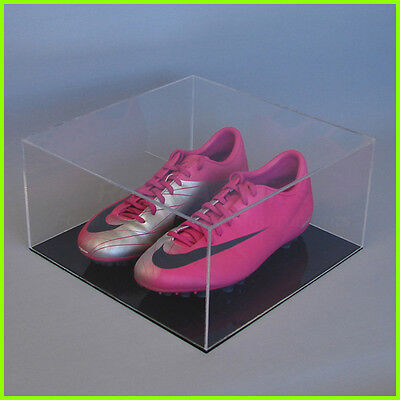 FOOTBALL BOOT DISPLAY CASE pair of boots CLEAR BLACK/ WHITE Acrylic Perspex