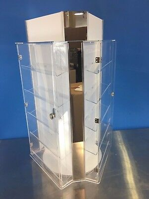 Jewelry Display Case Stand Sunglasses & Earring 3-Side Rotating Countertop Locks