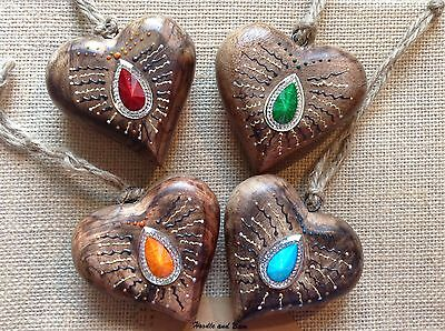 1 X Morrocan style jewelled chunky wooden hanging heart 8cm