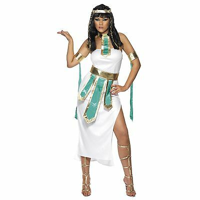 New Adult Ladies Queen Cleopatra Egyptian White Goddess Sexy Fancy Dress Costume