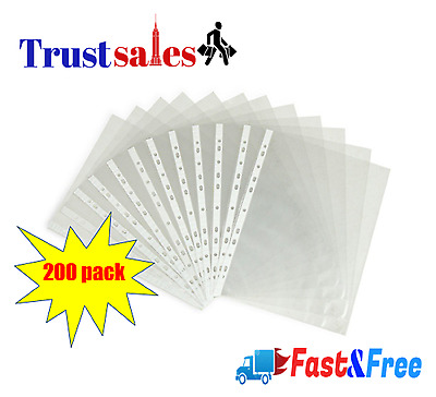 """200 Clear Plastic Sleeves Sheet Page Protectors 8.5""""x11"""" Document Office Binders"""