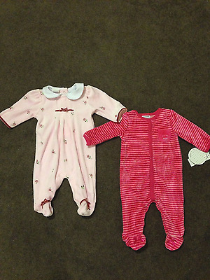 2 plush velour baby girl rompers onsies size 0-3mo NEW