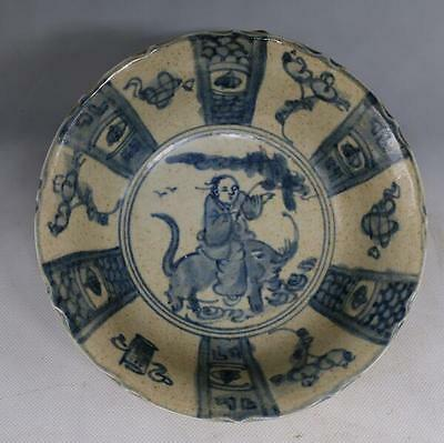 chinese old Hand carving porcelain figure bluewhite porcelain bowl