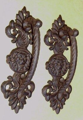 """2 Large Lion Head 9"""" Cast Iron Gate Pull Barn Door Shed Pull Handle Rusty Brown"""