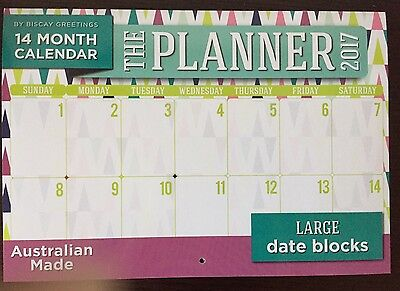 Limited Stock 2017 14 Month Calendar The Planner Design Large Date Blocks