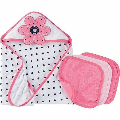 Gerber Baby Girls 4 Piece Bath Set NEW Hooded Towel Washcloths Flowers Adorable