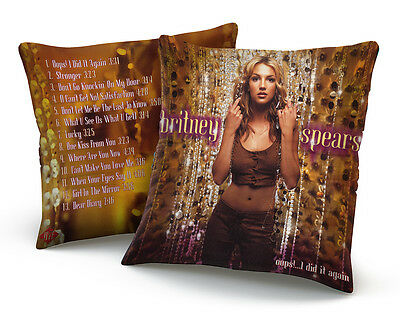 "Britney Spears ""oops I Did It Again"" Silk Cushion Pillow, Vtg 2000 Inspired"