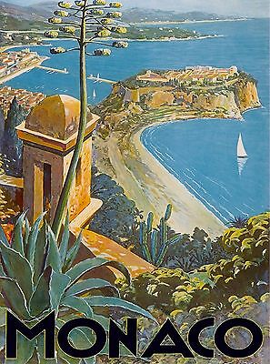 Monaco Monte Carlo France French Scenic Travel Art Poster Advertisement