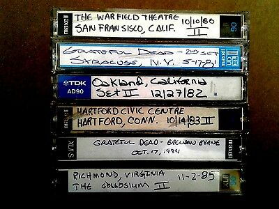 Lot of 6 Grateful Dead  Concert Tapes from 1980, 1981, 1982, 1983, 1984, 1985,