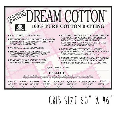 Dream Cotton Quilt Wadding - Select Crib Size Quilt Batting