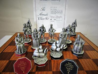 """Vintage Chess Set Danbury Mint""""the Armada"""" Historical  Pewter  +Org Cabinet"""