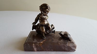 Antique bronze and marble Cherub Sculpture French.Signed and numbered 735 grams