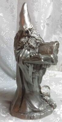 Pewter Wizard Reading a Spell Book 1989 BHA Signed A. Rodriques