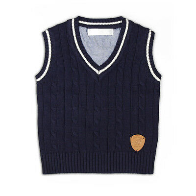 Baby Boy Formal V Neck Knitted Vest Sleeveless Sweater NAVY Color Size 0-6