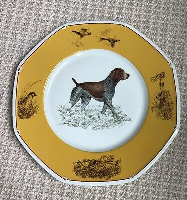 Hermes Paris German Pointer Yellow China Plate Dog Chiens Courants 25 Cm
