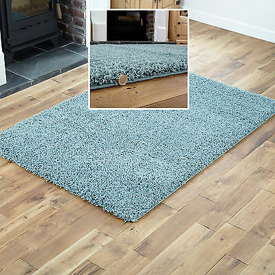 MODERN Large 160x230cm Rug 5cm Thick Non Shed Best Duck Egg Blue SHAGGY Rug Mat