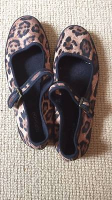 TOPSHOP Cute Retro Leopard Animal Print Flat Buckle Dolly Shoes UK Size 6 EU 39