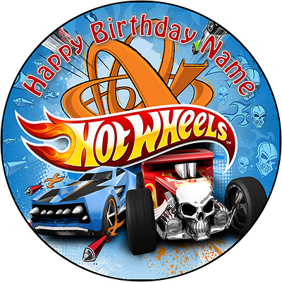 EDIBLE Hot Wheels car Cake Topper Birthday Party Wafer Paper 19cm (uncut)
