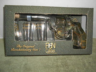Reposado Tequila Caliber Glass Pistol Revolver Gun Decanter Bottle Shot Glasses