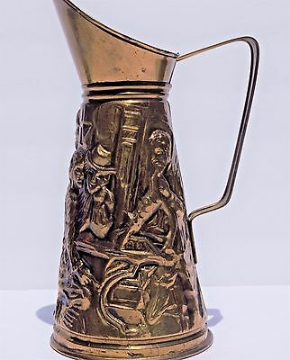 Vintage Brass D.M.G. Pitcher with Embossed Tavern Pub Scene Made in England