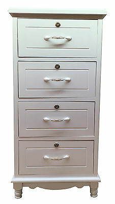 White Bedside Wooden 4 Drawer Chest Bedside Cabinet Nightstand Storage Unit