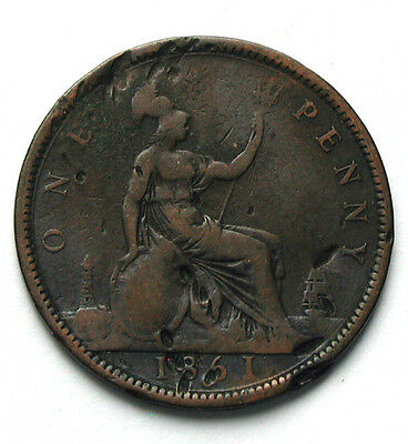 1861 UK (British) Victoria Coin - One Penny (1d) - notable dents