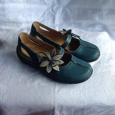 Hotter Teal Leather Mary Jane Loafers Size 3 Brand New In Box
