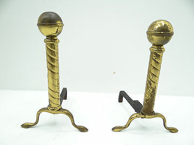 Antique Metal Brass Gold Iron Base Decorative American Ball Fireplace Andirons