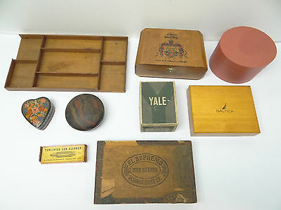 Mixed Vintage Lot Used Wood Cardboard Decorative Tomlinson Plunket Cigar Boxes