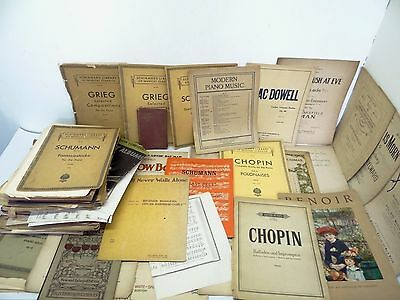 Large Mixed Vintage Lot Used Schirmers Library Grieg Sheet Music Books Chopin