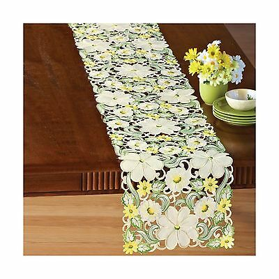 Embroidered Floral Blossom Table Linens Cream Runner