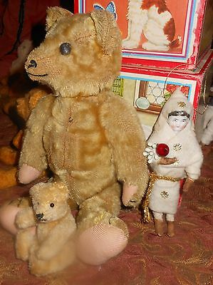 ANTIQUE SHOE Button Eyes TEDDY BEAR  Excelsior Stuffed