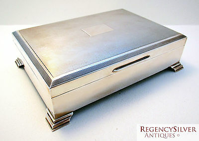 Solid Sterling Silver English Art Deco Cigarette Cigar Trinket Case/Box Humidor